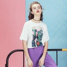 ФОТО short-sleeved t-shirt female 2018 new summer cotton printed loose round neck casual harajuku shirt