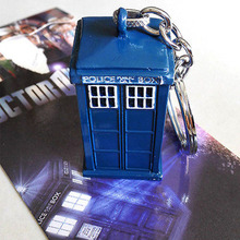 Fashion jewelry Hot British Science Fiction TV Series Doctor Who TARDIS A Telephone Booth 3D Blue Key chain ring