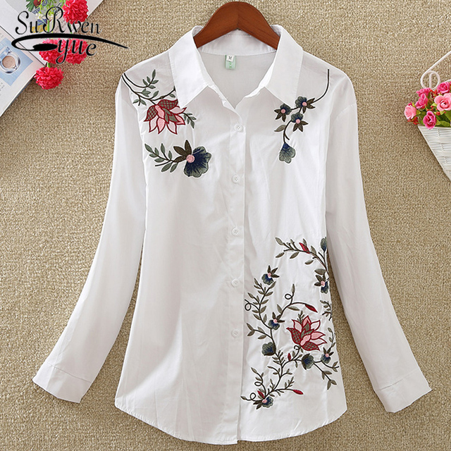 New Fashion flowers embroidered women's clothing women tops blusas