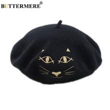 BUTTERMERE Female Beret 100% Wool Cat Embroidery French Women Japanese Kawaii Autumn Winter Black Burgundy Painter Hat