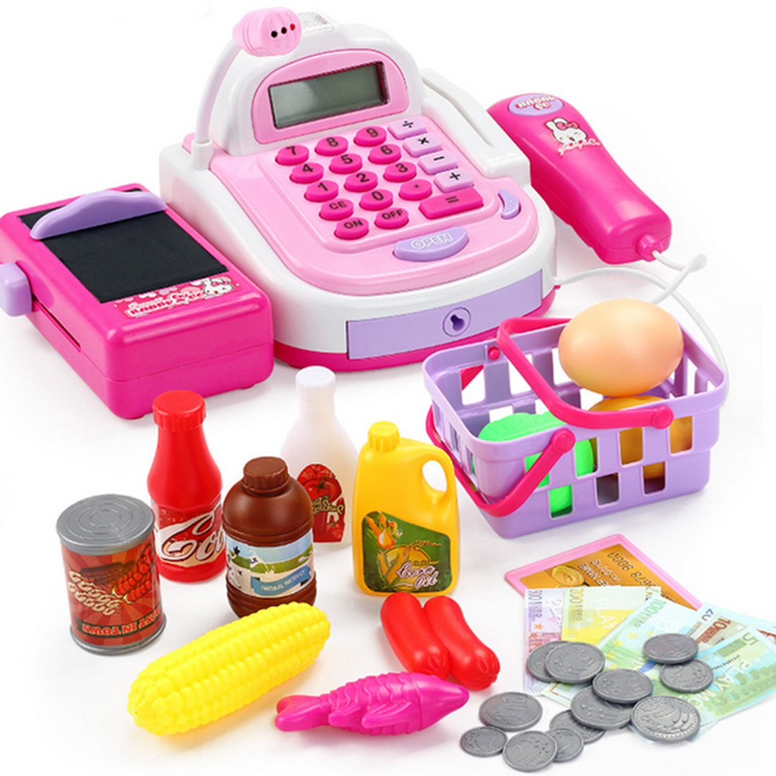NFSTRIKE Kids Plastic Cash Register Cashier Pretend & Play C