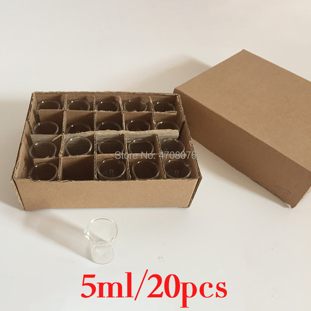 5ml 20pcs/set Pyrex Beaker borosilicate glass Lab glassware chemical measuring cup flat bottom for scientific test