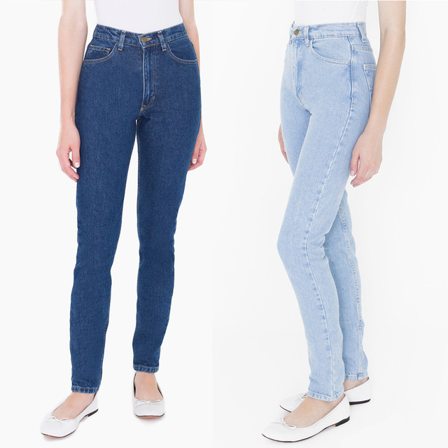 american's apparel women Classic Dark Wash High Waist Jeans pants Aa non-stretch denim harem pants