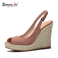 Donna-en cuero natural Suede Sandalias mujeres Super Tacones altos punta abierta moda señoras Zapatos cuña plataforma Sandalias verano 2018