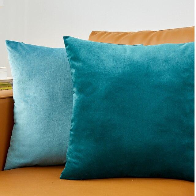 Azul Lance Fronha Capa de Almofada de Veludo Para O Sofá Da Sala 45*45 Kussenhoes Almofadas Casa Decoração Housse De coussin