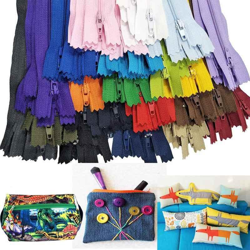 Zíperes de Nylon flash em massa para artesanato costura alfaiate (20 cores) (lote de 120 pcs, 22 cm)