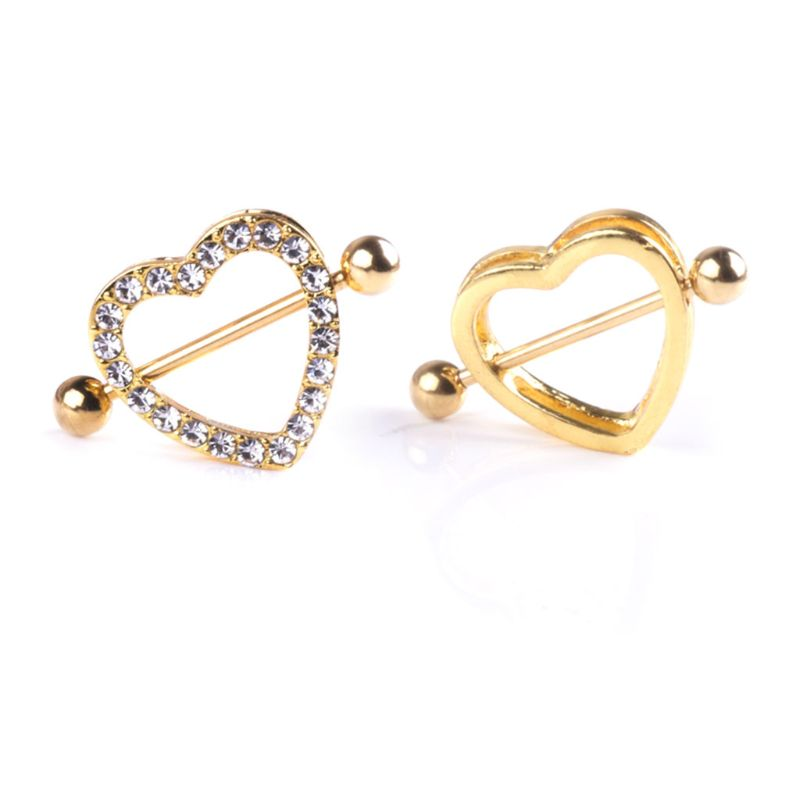 Bar Jewelry Nipple Piercing Gold-Decoration Sexy Breast-Lady Luxury Rhinestone Double-Layer