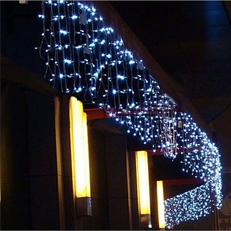 4M 96 Led curtain icicle string lights patio christmas Led cristmas lights  outdoor Decor Wedding party new year home EU/US-in LED String from Lights  ... - 4M 96 Led Curtain Icicle String Lights Patio Christmas Led Cristmas