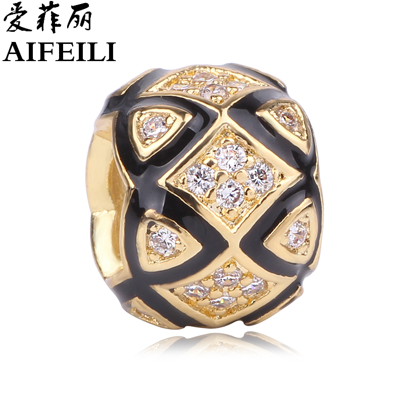 AIFEILI Original Silver Color 2 Colors Faceted CZ Intertwining Radiance Charms Beads Fit Pandora Bracelets Jewelry Making