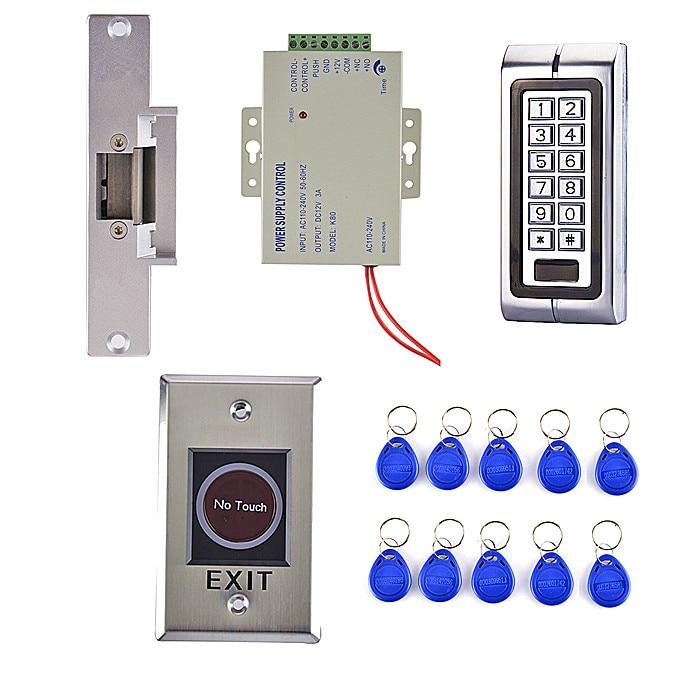 Secure Door Locks RFID Reader Metal Keypad Door Access Control Kit+ Magnetic lock  Lock+10 ID Cards125KHz ip68 proximity rfid 125khz 13 56mhz id ic keypad metal door access control standalone entry door lock keypad