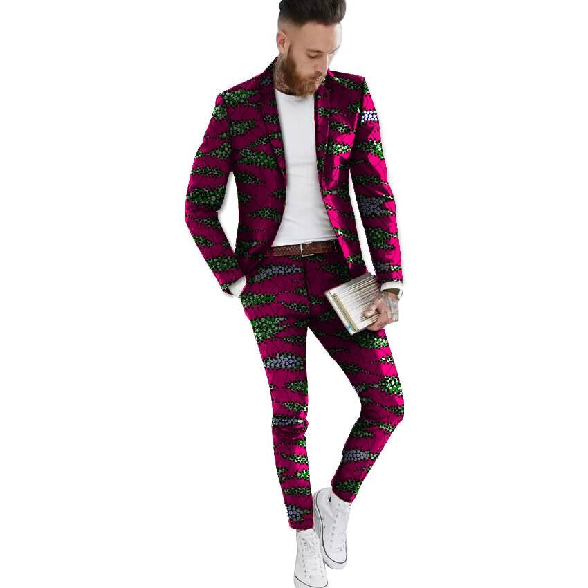 African blazers and trousers set Men's Ankara Suit Jacket fashion wax print dashiki blazer+pant sets African clothing - 3