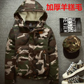 camouflage parkas men military medium-long Men's Clothing thickening cotton-padded winter jacket men with fur a hood