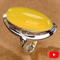 NOT FAKE S925 Sterling Silver Israel Amber Rings Exaggerated Rings upper class lithuania Retro Chalcedony