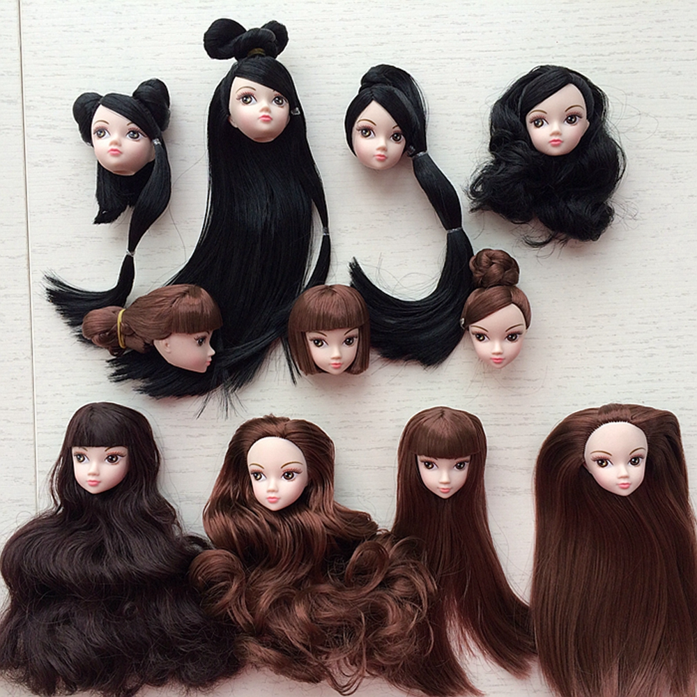Kids Toy High Quality Doll Head med Black Brown Hair DIY Tilbehør til Barbie Doll for 1/6 BJD Doll House