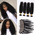 Brazilian Deep Wave With Closure 8A Lace Frontal Closure With Bundles 13x4 Brazilian Wavy Human Hair Weave With Frontal Closure