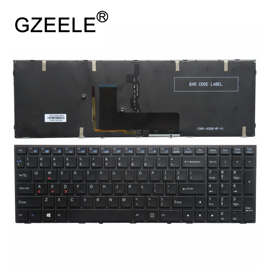 GZEELE US backlit laptop keyboard for Clevo N150SD N151SD N155SD N170SD Gaming Black Laptop Keyboard US English Backlit new us keyboard for acer aspire vn7 793g vx5 591g vx5 591g 52wn us laptop keyboard with backlit