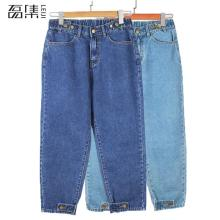 Джинсы для женщин в стиле бойфренд с высокой талией джинсы для мам размера плюс женские шаровары джинсовые штаны 100 кг