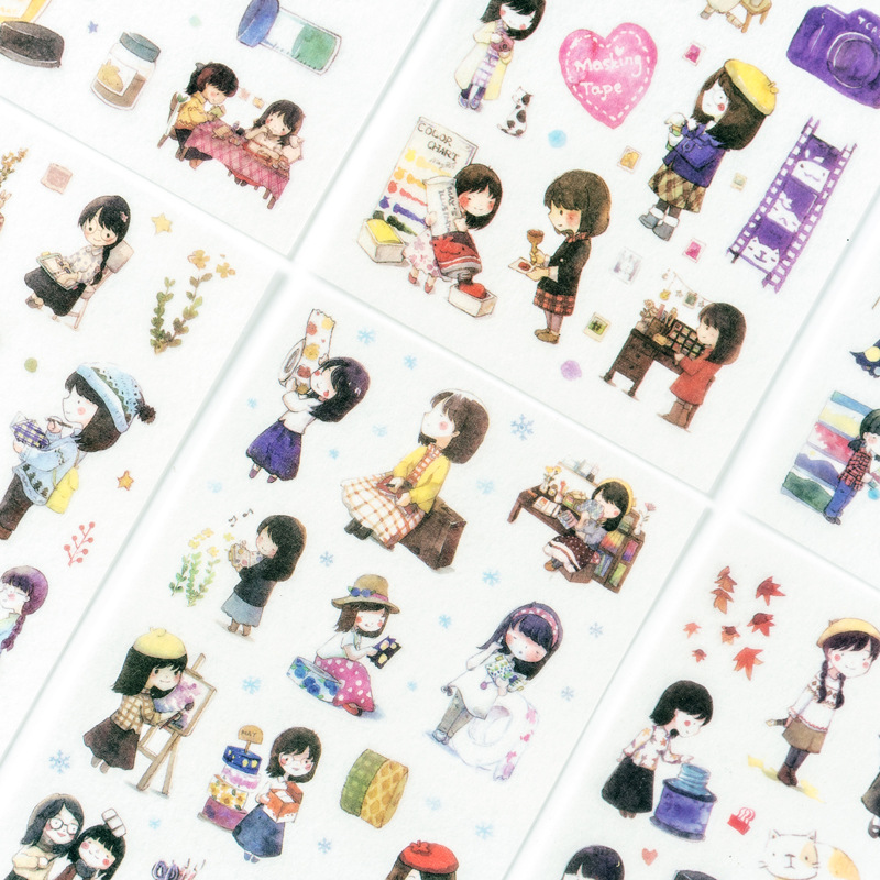 6 Sheets/lot Girl And Friends Kawaii Paper Stickers Diary Decoration Diy Scrapbooking Label Seal Sticker Stationery