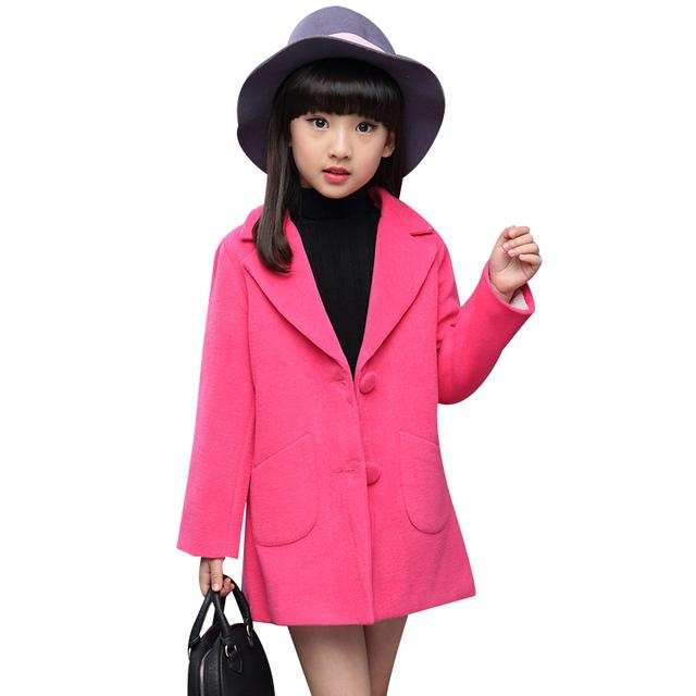 2016 Nuevas Muchachas de la Moda Abrigo de Lana de Un Solo Pecho Sólido Abrigo Largo Chica Rosa Rojo Rosa Caliente Abrigo de Invierno Los Niños prendas de Vestir Exteriores
