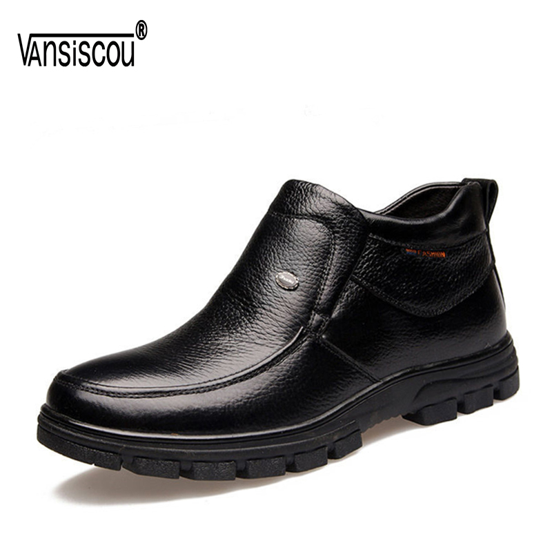 VANSISCOU Men Casual Ankle Snow Boots Genuine Leather Men Brand Boots Winter Plush Warm Flats Shoes Soft Leather Boots Male цены