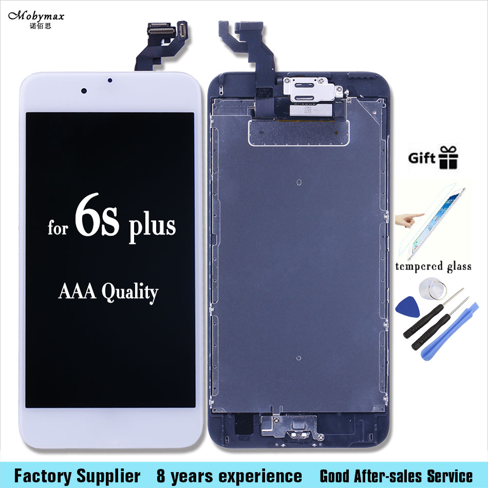 Full LCD Touch Screen Assembly +Home Button+ Front Camera For iPhone 6S Plus 5.5 A1634 A1687 A1699 with tools +Tempered film