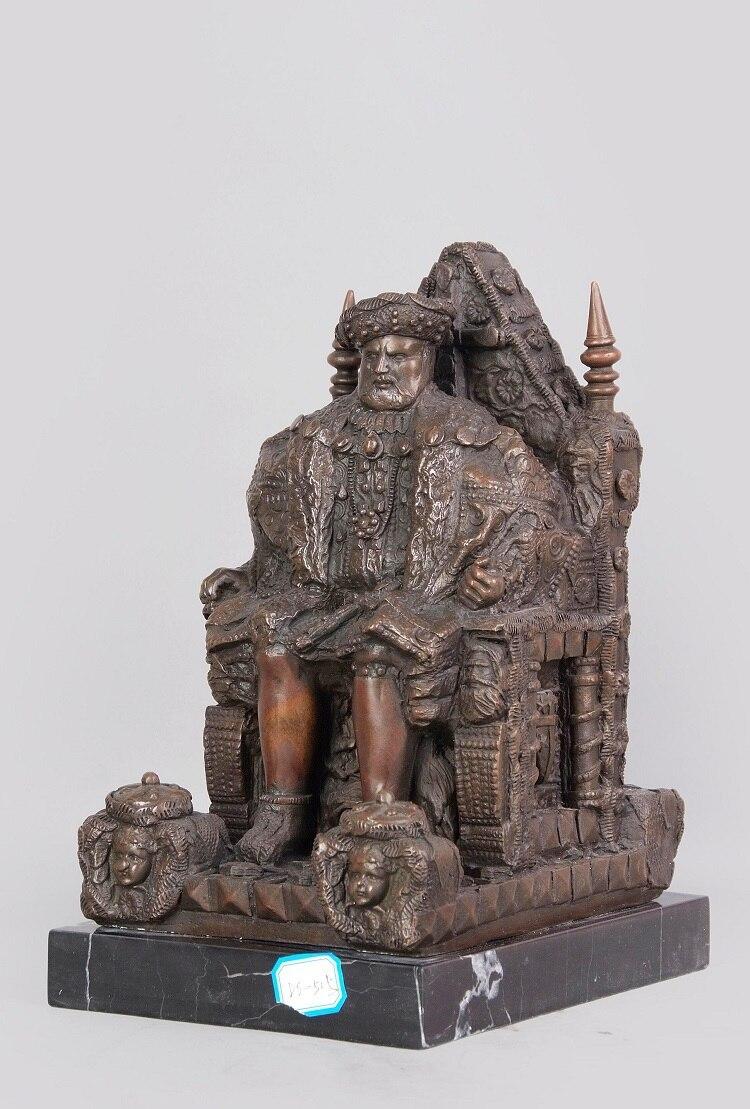 Arts Crafts Copper Classical Antique Bronze Sculptures Figurine Old Man Statue Tribal leader Vintage Home Decor Gift CZS 515