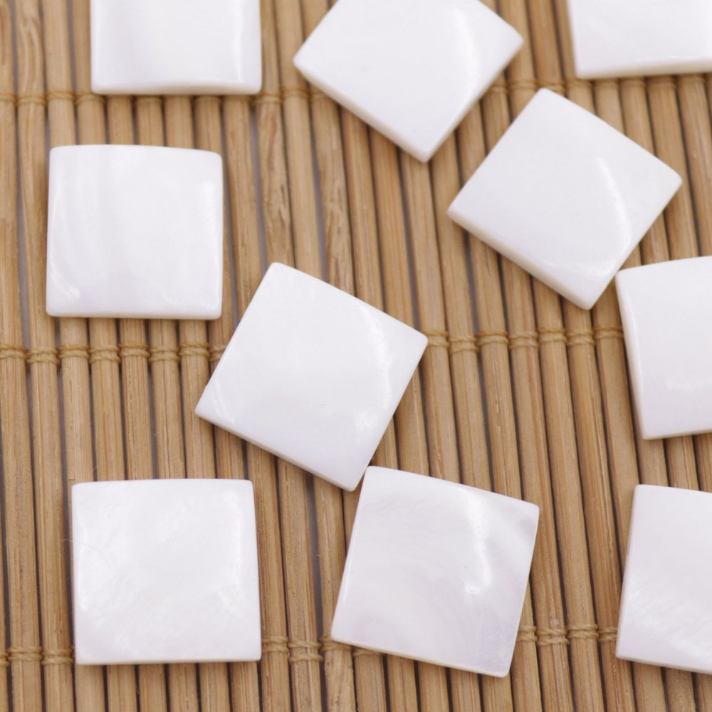 Купить с кэшбэком 10PCS 15mm Square Shell Natural White Mother of Pearl Rings Jewelry Making DIY