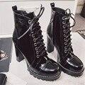 2017 Nueva Negro Mujeres Zapatos Botines de Cuero Reales de Alta talón de Los Zapatos Ocasionales de Las Mujeres Botas Cortas de Plataforma Martin Botas de Las Mujeres bombas