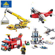 City Fire Truck Crane Airplane Police Station Model Compatible LegoINGs Building Blocks Sets Playmobil Bricks Toys for Children(China)