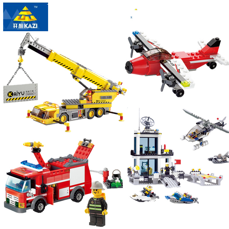 Legoings City Fire Truck Crane Airplane Police Station Model Building Blocks Brinquedos Educational Building Toys for Children bohs building blocks city police station coastal guard swat truck motorcycle learning
