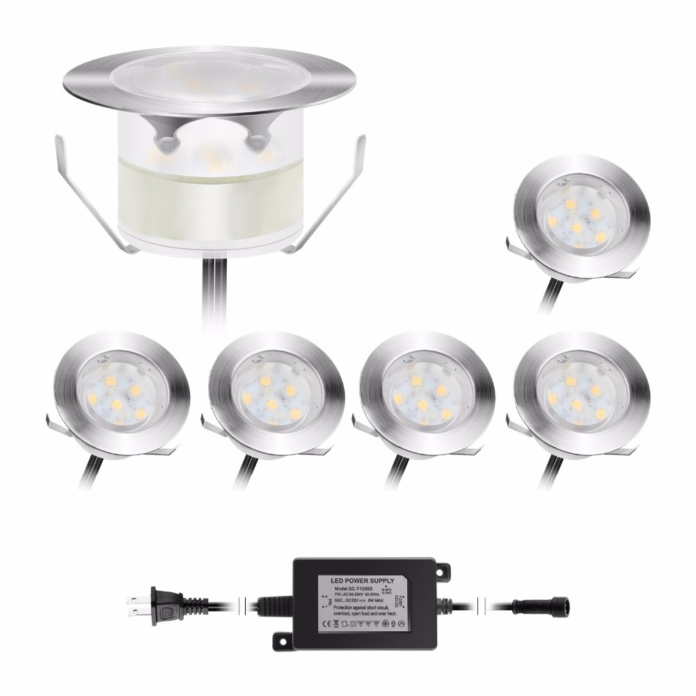 6pcs Set 1W Waterproof IP67 Round Stainless Steel Driveway Up Lamp DC12V Recessed LED Patio Floor