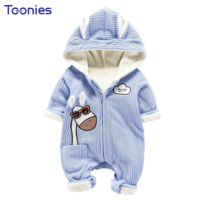 New Arrival Infant Clothes Cartoon Baby Rompers Winter Cashmere Unisex Clothing Sets Long Sleeve Newborn Jumpsuits Hooded Romper new arrival newborn baby boy clothes long sleeve baby boys girl romper cotton infant baby rompers jumpsuits baby clothing set