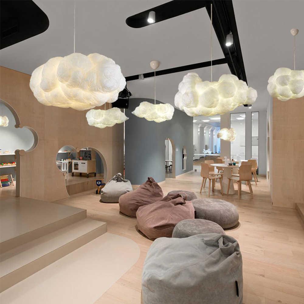 Подвесной светильник в скандинавском стиле с облаками, Шелковый светильник с темными облаками, подвесной светильник с индивидуальным украшением для ресторана отеля, лобби