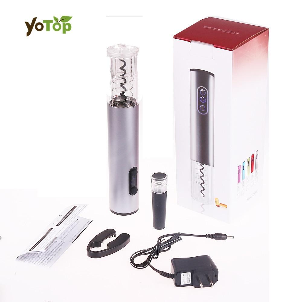 YOTOP US Lega di Alluminio Elettrico Automatico Ricaricabile Bottiglia di Vino Opener Cavatappi Cordless Con Foil Cutter Vuoto Tappo