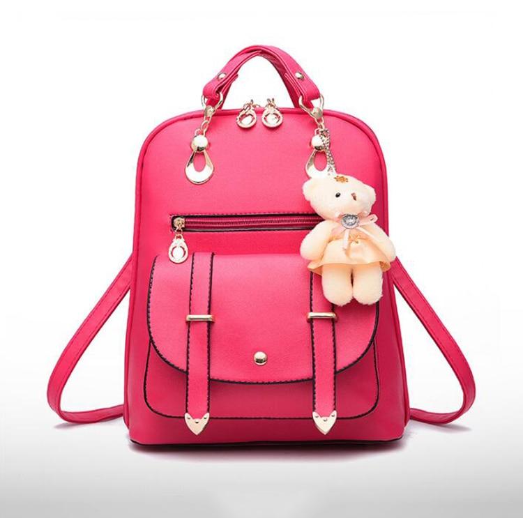 HTB17ivNDh1YBuNjy1zcq6zNcXXaG Preppy Style Women Backpack Bear Toys PU Leather Schoolbags for Teenage Girls Female Rucksack Shoulder Bag Travel Knapsack