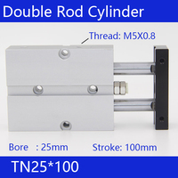 Free Shipping 25mm Bore 100mm Stroke Compact Air Cylinders TN25X100 Dual Action Air Pneumatic Cylinder