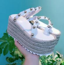 Customized Rope Briaded Platform Wedge Shoe for Woman Rome Style Rivets Studded Leather Slides Outside Shoes