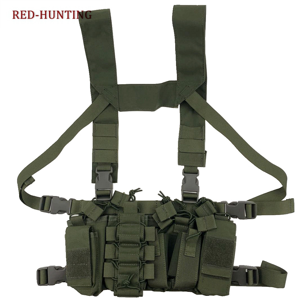 Tactical Chest Rig Light Outdoor Vest Adjustable Military Airsoft Paintball Hunting Vest with Mag Pouch