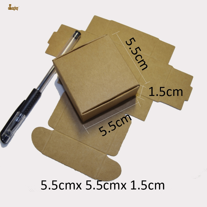 50pcs/lot 5.5cmx5.5cmx1.5cm Gift Packaging Kraft Paper Box Party Wedding Candy Chocolate Bakery Baking Cake Packing brown/black