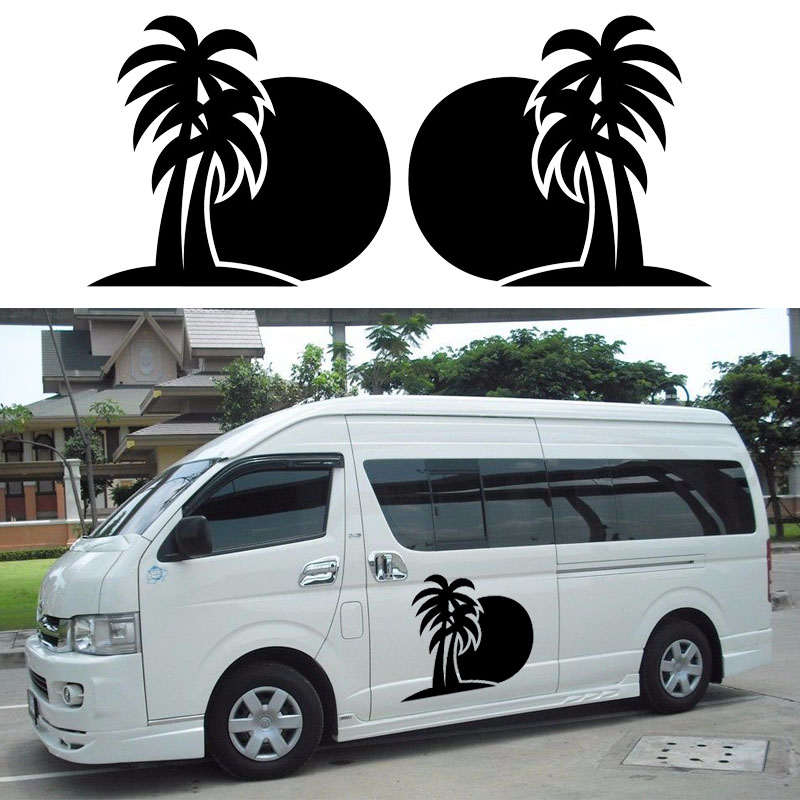 2x Palm Tree SUN Hammock (one for each side) Camper Van RV Trailer Truck Motor Home Vinyl Graphics Kit Decals Door Car Stickers cool scorpion design die out vinyl sticker on car for vw polo golf mazda and so on fashion car side door decals labels