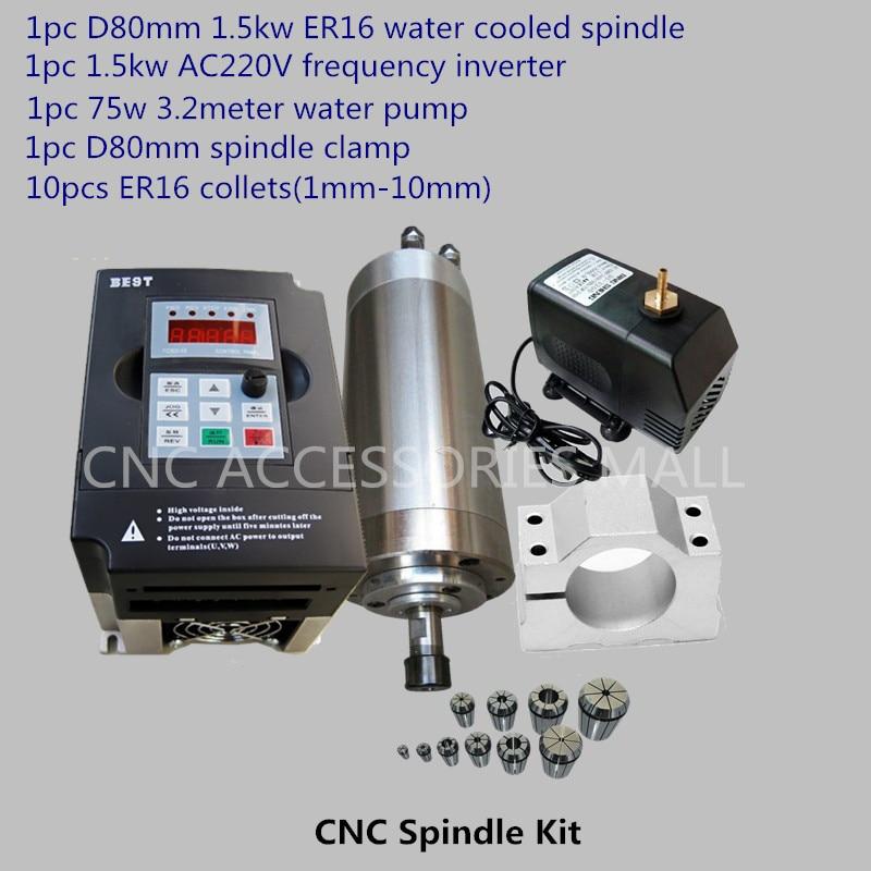 CNC veleno rinkinys 1,5 kW vandens aušinimo veleno variklis + 1,5 kW tarpiklis + ER16 (1-10 mm) + 80 mm spaustukas + 3,2 m vandens siurblys
