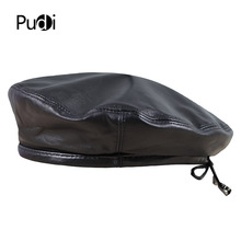 Pudi HL197 The new mans leather beret hat for the spring style of high quality sheep leather hat can adjust the rope design.