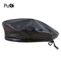 Pudi HL197 The new man's leather beret hat for the spring style of high quality sheep leather hat can adjust the rope design.
