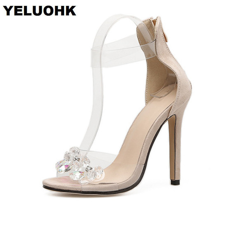 Rhinestone Sandals Summer Shoes Women Pumps Transparent Womens Shoes Heels Strappy Heels Ladies Shoes enmayla womens high heels shoes summer ladies gladiator sandals women faux suede open toe rhinestone strappy sandals shoes woman