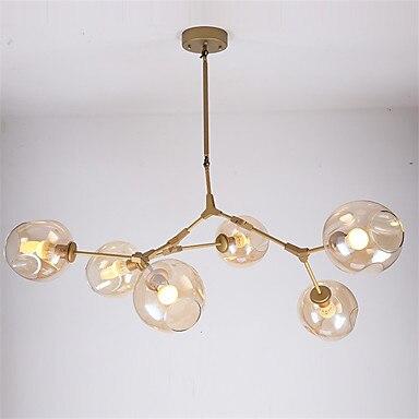Северное золото молекула ДНК елочка филиал подвесной светильник бар Обеденная пузырь Стекло оттенок ретро лампы, светильники