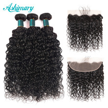 Ashimary Hair Lace Frontal with Bundles Water Wave Bundles with Frontal Brazilian Human Hair Bundles with Closure Remy Hair