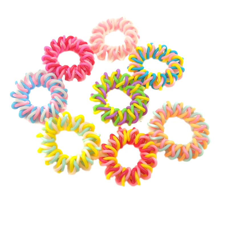 Wholesale 5Pcs Size 3.5CM Girls Coloful Braid Elastic Telephone Wire Hair Bands Ropes Ponytail Holders Rubber Bands