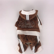 Pet Product Clothes For Dogs jumpsuit Puppy Warm Autumn Spring Clothing Brown Velvet With Rhinestone For Chihuahua