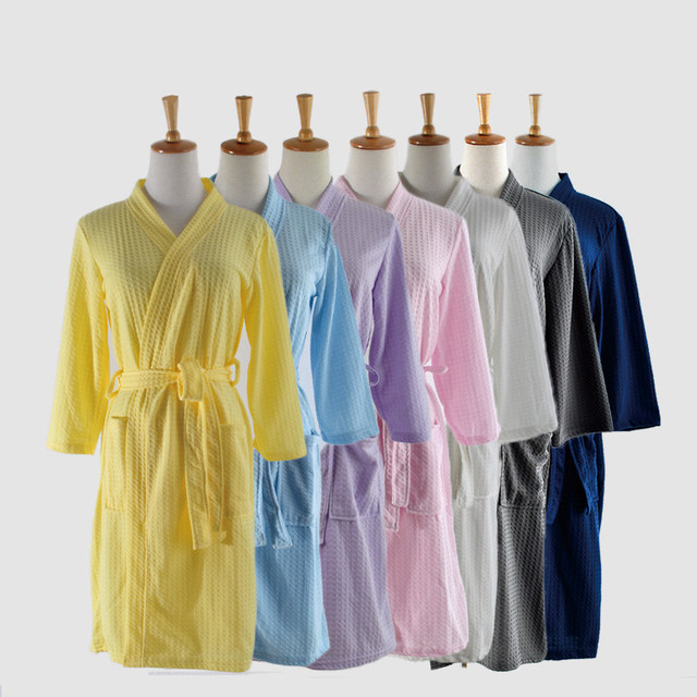 Peignoir Bath Robe Women Dressing Gown Unisex Men Waffle Bathrobe Lovers Badjas Cotton Kimono Sleepwear Mens Nightwear Vestidos