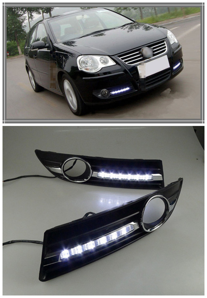 waterproof 12v led car drl fog lamp for volkswagen vw polo 2005 2006 2007 2008 2009 2010 drl. Black Bedroom Furniture Sets. Home Design Ideas